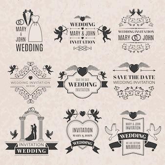 Huwelijksetiketten die in victorian stijl worden geplaatst. monochrome afbeeldingen voor badges of logo's