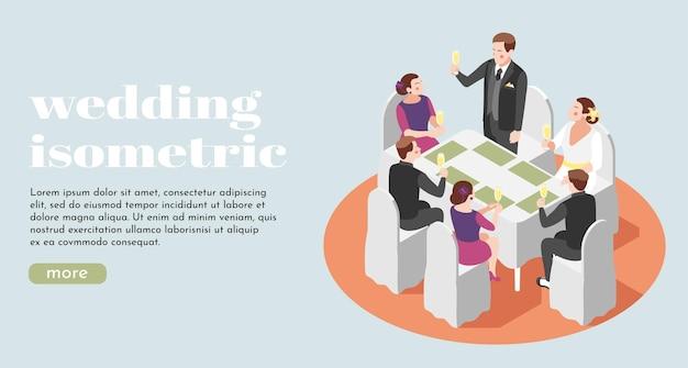 Huwelijksillustratie met net getrouwde pasgetrouwden en hun gasten die glazen champagne heffen aan de tafel van het restaurant