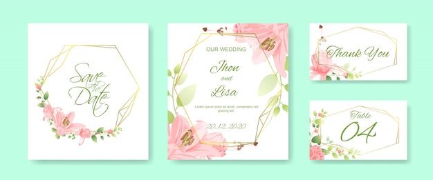 Huwelijkskaart met mooie bloem wordt geplaatst die