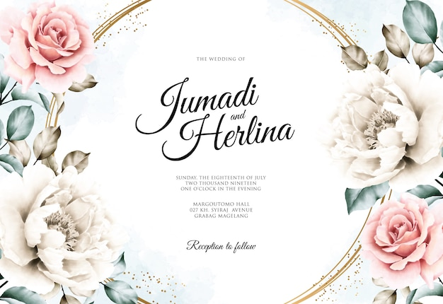 Huwelijkskaart met mooie bloemenwaterverf