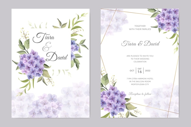 Huwelijkskaart met paarse hydrangea hortensiabloem