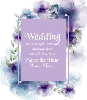 Huwelijkskaart met waterverfbloemen
