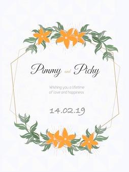 Huwelijkskaart of bloemenhuwelijksuitnodiging