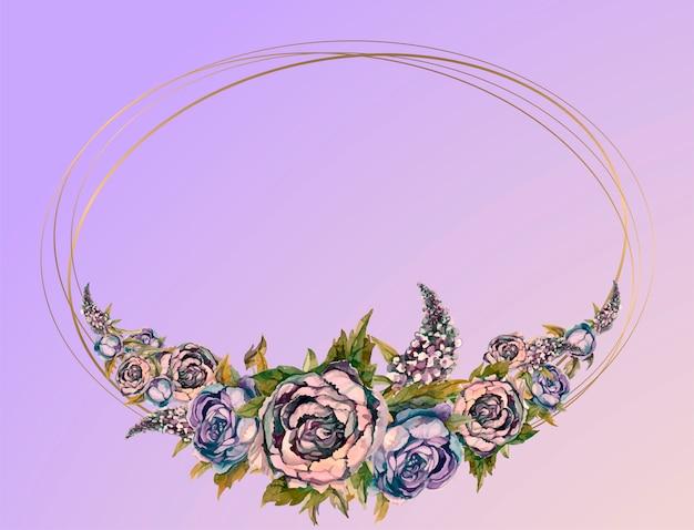 Huwelijkskader met waterverfslingers van pioenen van rozen en seringen.