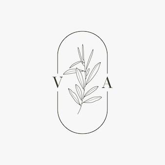 Huwelijksmonogram en logo met olijftak in moderne minimale voeringstijl. vector floral sjabloon voor uitnodigingskaarten, save the date. botanische rustieke illustratie