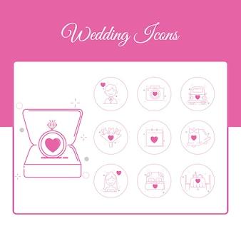 Huwelijkspictogrammen die met overzichtsstijl worden geplaatst