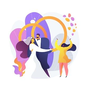 Huwelijksplechtigheid. bruid in mooie witte jurk en bruidegom stripfiguren. eerste dans van de pasgetrouwden. huwelijk, verloving, feest.