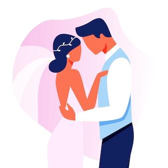 Huwelijksplechtigheid. gelukkige bruidspaar geïsoleerd
