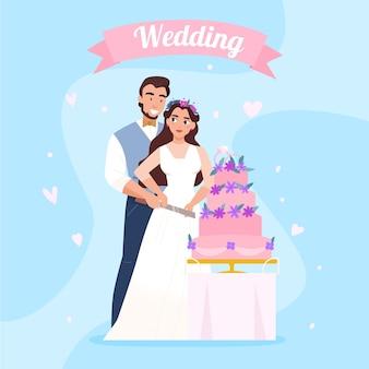Huwelijksreceptie mooie compositie met bruid en bruidegom die samen een stuk bruidstaart snijden