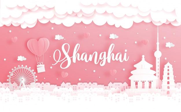 Huwelijksreis en valentijnsdagkaart met reisconcept naar shanghai, china