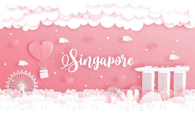 Huwelijksreis en valentijnsdagkaart met reisconcept naar singapore