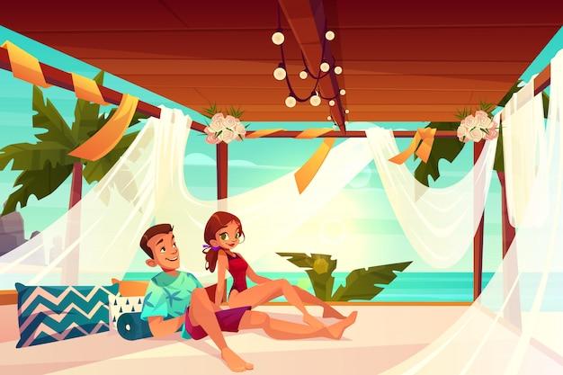 Huwelijksreis in luxehotel op de tropische vector van het toevluchtbeeldverhaal.