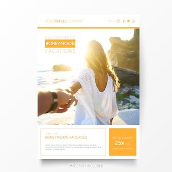 Huwelijksreis vakantie brochure template