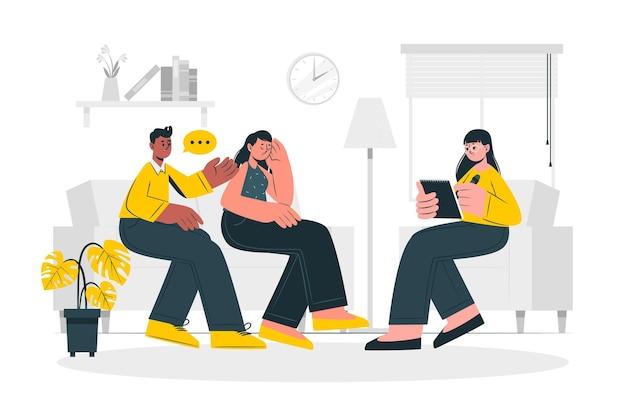 Huwelijkstherapie concept illustratie