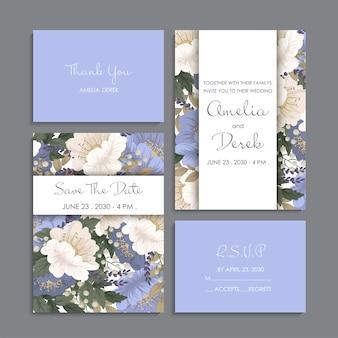 Huwelijksuitnodiging, bedankkaart, bewaar de datumkaarten.