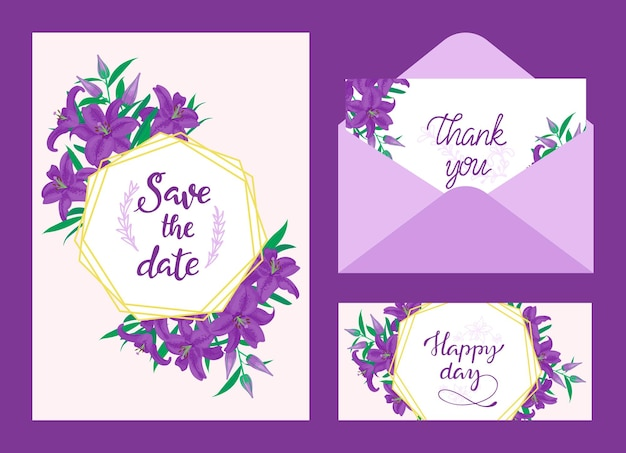 Huwelijksuitnodiging, bedankkaart en gelukkige dagkaart