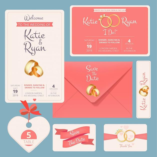 Huwelijksuitnodiging. bewaar datum verjaardag paar kaarten met huwelijk cartoon symbolen bruiloft banners sjabloon