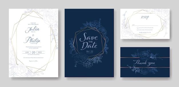 Huwelijksuitnodiging bewaar de datum bedankt rsvp-kaartsjabloon