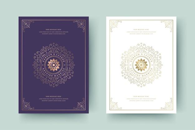 Huwelijksuitnodiging bewaar de datum kaartsjabloon gouden bloeit ornamenten vignet wervelingen