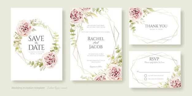 Huwelijksuitnodiging bewaar deze datum bedankt rsvp-kaartsjabloon juliet rose en eucalyptusbladeren