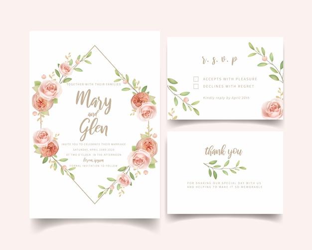 Huwelijksuitnodiging bloemen met bloementuinrozen