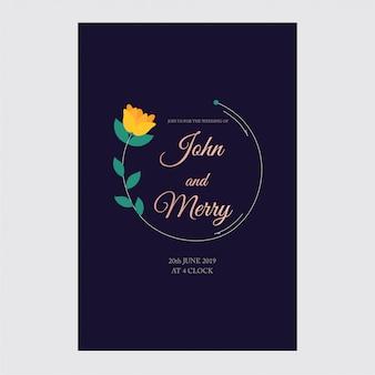 Huwelijksuitnodiging, bloemen, rsvp moderne kaart ontwerp: decoratieve krans
