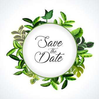 Huwelijksuitnodiging, bloemenuitnodiging dank u, rsvp moderne kaart ontwerp: groen tropisch palmbladeren groen eucalyptus takken decoratieve krans