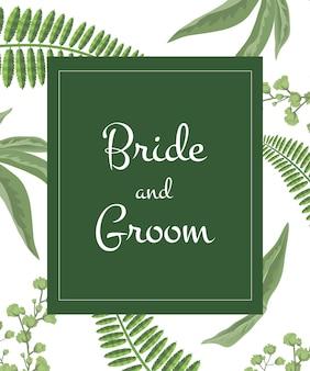 Huwelijksuitnodiging bruid en bruidegom het van letters voorzien in groen kader op groenpatroon.