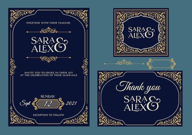 Huwelijksuitnodiging elegante set blauwe en gouden kaart Premium Vector