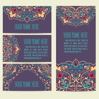 Huwelijksuitnodiging en aankondigingskaart met ornament in arabische stijl