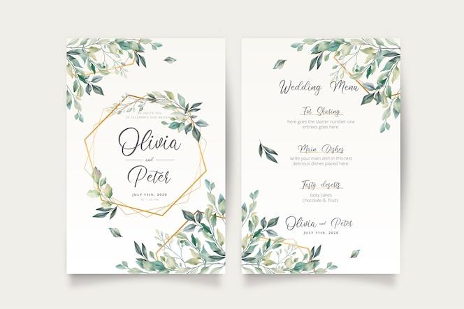 Huwelijksuitnodiging en menusjabloon met mooie bladeren