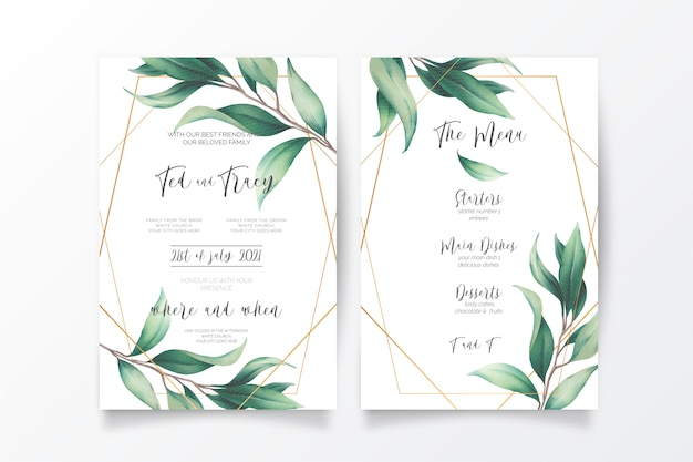 Huwelijksuitnodiging en menusjabloon met wilde bladeren