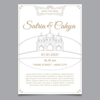 Huwelijksuitnodiging en moskeeillustratie, papercut-thema