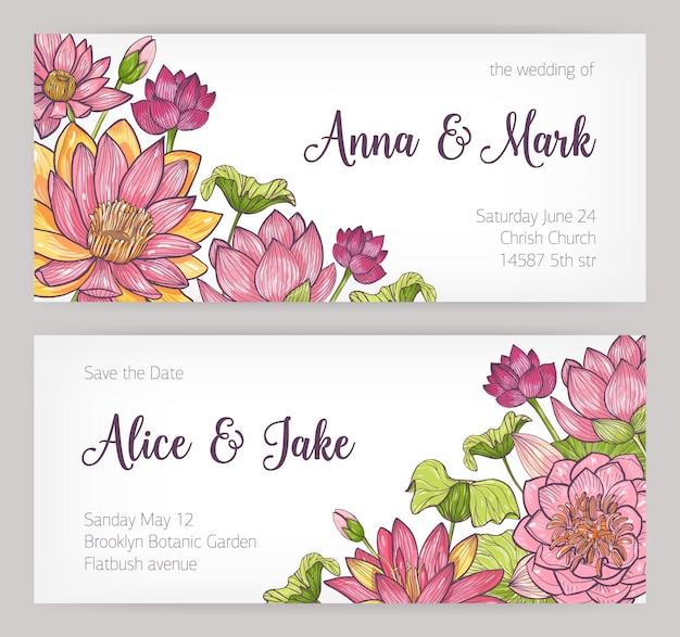 Huwelijksuitnodiging en save the date-kaartsjablonen versierd met elegante roze bloeiende lotusbloemen, knoppen en bladeren