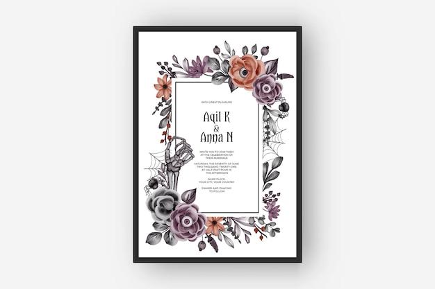 Huwelijksuitnodiging gelukkig halloween-frame met enge bloemogen