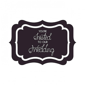 Huwelijksuitnodiging in kader geïsoleerd pictogram