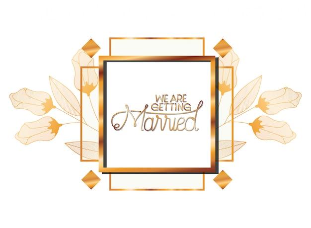 Huwelijksuitnodiging in kader gouden met bloemen