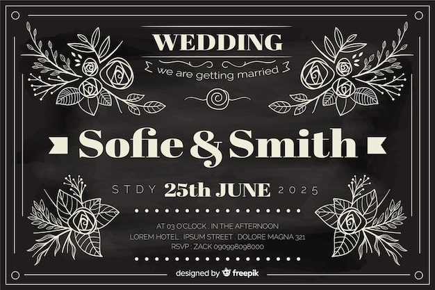 Huwelijksuitnodiging in uitstekende stijl die op bord wordt geschreven