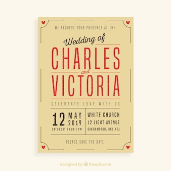 Huwelijksuitnodiging in vintage stijl