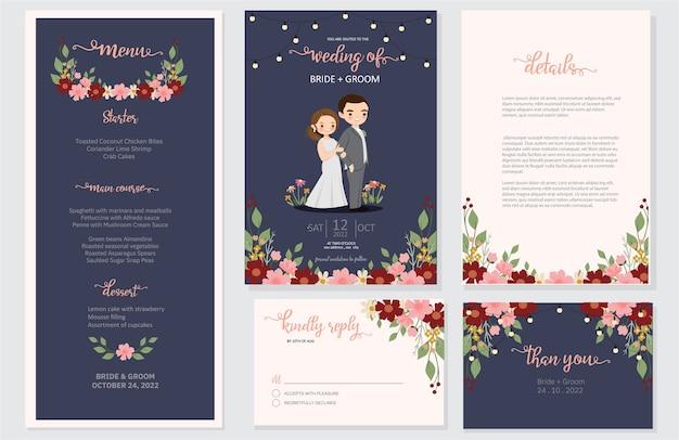 Huwelijksuitnodiging, menu, rsvp, dank u het ontwerp van de datumkaart opslaat