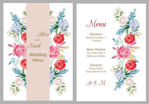 Huwelijksuitnodiging, menukaart, bruiloft
