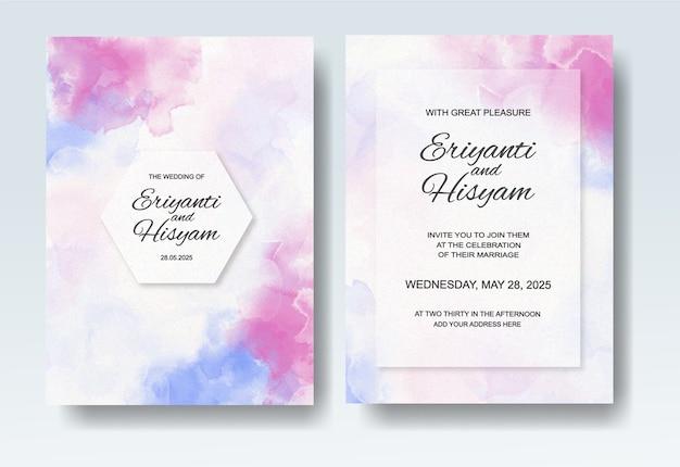Huwelijksuitnodiging met abstracte plonswaterverf