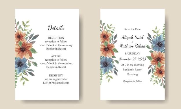 Huwelijksuitnodiging met aquarel blauw oranje arrangementen