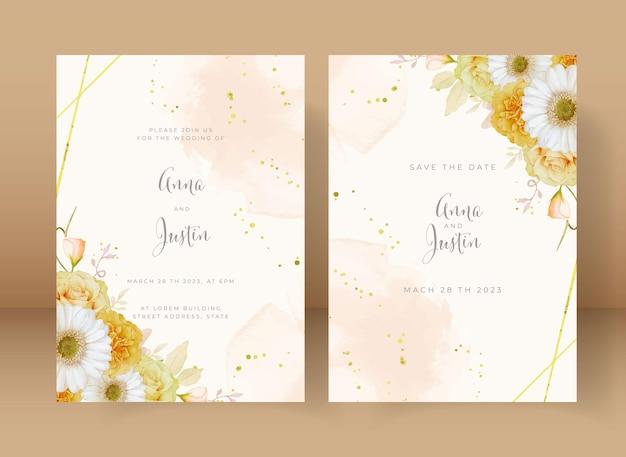 Huwelijksuitnodiging met aquarel gele roos en witte gerberabloem