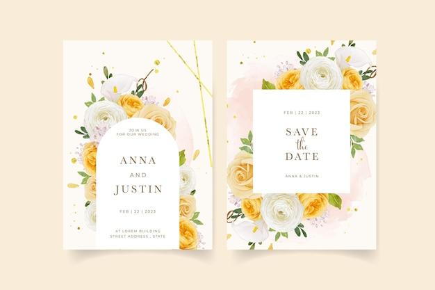 Huwelijksuitnodiging met aquarel gele roos lelie en boterbloem bloem
