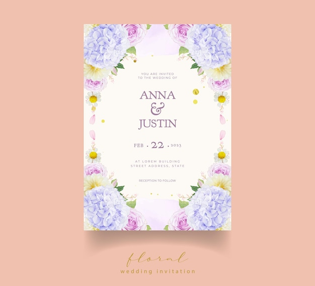 Huwelijksuitnodiging met aquarel paarse rozen dahlia en hortensia bloem