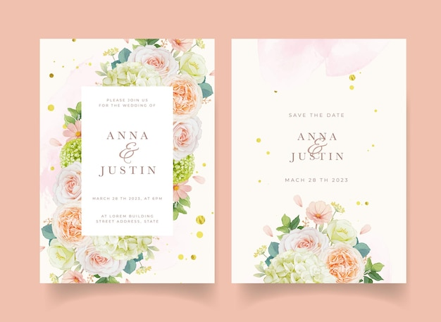 Huwelijksuitnodiging met aquarel perzik rozen en hortensia bloem