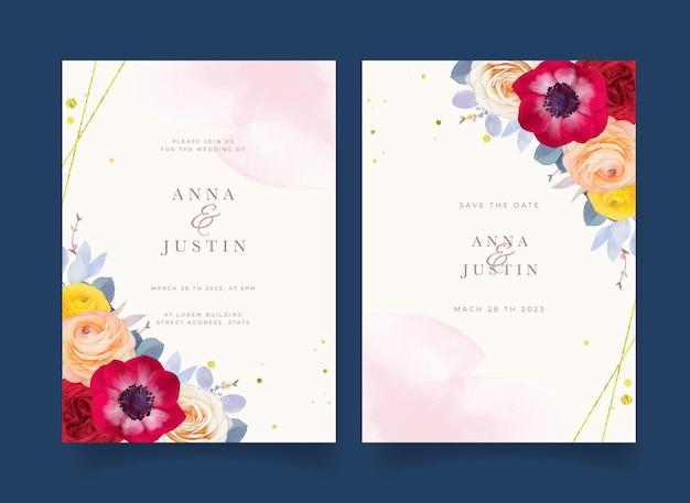 Huwelijksuitnodiging met aquarel rode roos anemoon en ranonkel bloem