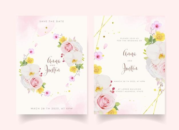 Huwelijksuitnodiging met aquarel roze roos en orchidee