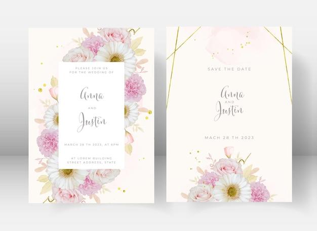 Huwelijksuitnodiging met aquarel roze roos en witte gerberabloem